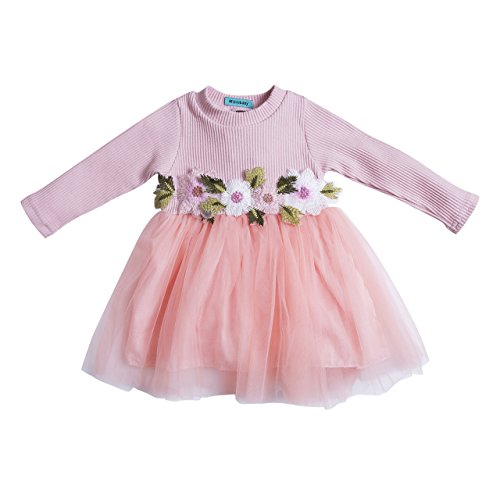 Toddler Kids Girls Fall Jersey Dress Long Sleeve Floral Tulle Cap Tutu Dresses Outfit (9-18months, - Pink Girls Dress Jersey