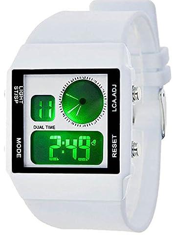 Fanmis Leisure Stylish Square Dial Waterproof Digital Unisex White Rubber Sport Wrist Watch (Sport Watches Womens White)