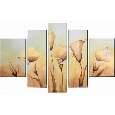 Sangu 100% Hand Painted Wood Framed 5-piece White Lily Oil Paintings Gift Canvas Wall Art Paintings For Living (Buy Bob Ross Painting Original)