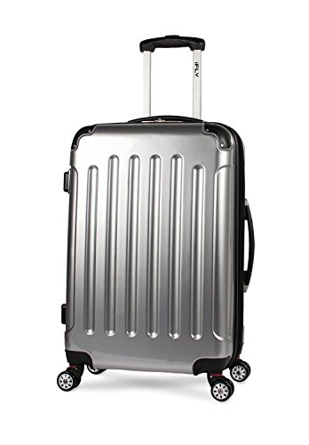 (iFLY Carbon Racing Hard Sided Medium Checked Luggage, Silver)
