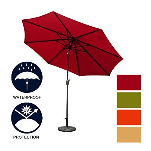 Aok Garden 9Ft Patio Outdoor Umbrella Market Table Fade-Resistant Umbrella with Push Button Tilt and Crank for Garden Backyard Deck, Wine Red 18' Round Umbrella Base