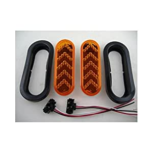 United Pacific 35 Amber Led Oval Sequential Reflector Auxiliary Signal Light - Amber Lens