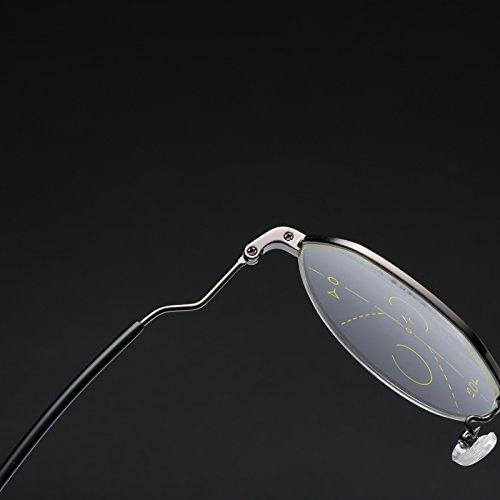 Bluelover Geometrica Progressiva Multifocale Presbiopia Occhiali Da Lettura Full Frame Resina Lente In Vetro - 3,0