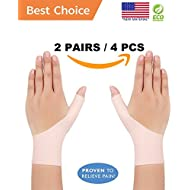 Wrist Brace Gel and Thumb Support Stabilizer, Compression Gloves | Relief Pain for Carpal Tunnel, Arthritis, Tenosynovitis, Tendonitis | Washable, Great for Typing, Yoga and more (ALL SIZES)(4 PIECES)