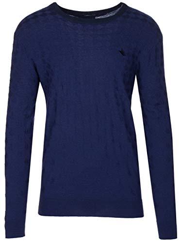 (Armani Collezioni Men's Navy Blue 100% Wool Textured Knitwear Pullover Sweater, EU 58 / US 3XL,)