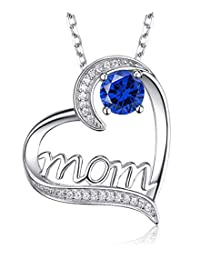 "Birthday Gifts for Mom September Birthstone Blue Sapphire Necklace Jewelry I Love You Mom Love Heart Sterling Silver Pendant for Women 20"" Chain"