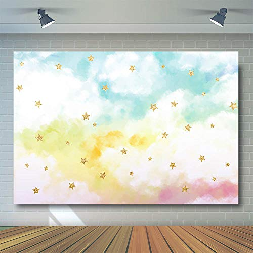(COMOPHOTO Watercolor Cloud Backdrop Colorful White Sky Golden Glitter Stars Birthday Party Background 7x5ft Vinyl Newborn Baby Shower Photo Booth Studio Photography Backdrops Supplies)