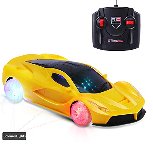 AiTuiTui Remote Control Car Kids, 1/18 RC Light Up Hobby Toy Car with 5 Flashing LED Lights and Controller Vehicle for Boys Girls 3,4,5,6 Years Old, Yellow from AiTuiTui