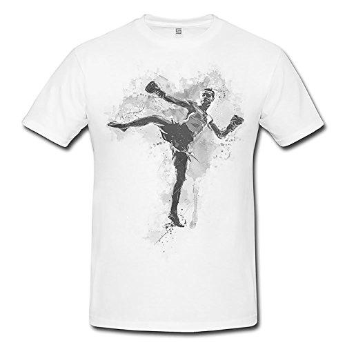 Kickboxen I T-Shirt Herren, weiß mit Aufdruck
