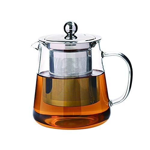 Tetera de cristal con infusor, filtro de te de vidrio de borosilicato resistente al calor para te suelto, te floreciente y cafe (550 ml)
