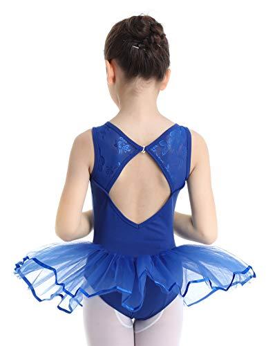 (YiZYiF Little Girls' Princess Ruffled Mesh Ballet Dancing Leotard Tutu Skirt Tiered Dress Dancewear (Lace Floral Blue, 3-4))
