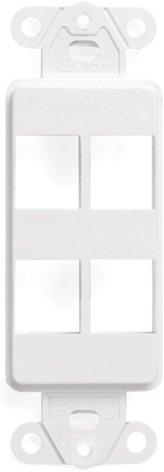 Leviton 41644-W QuickPort Decora Insert, 4-Port, White