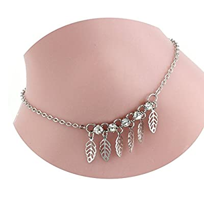 Hot JY Jewelry Silver-plated Chain with Hollow Leaves and Rhinestone Charms Anklet for sale