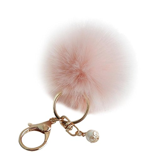 Tenworld Gold Plated Keychain Rabbit Fur Ball Pom Pom Keychain for Car Key Ring Handbag Tote Bag Pendant Charm (Pink)