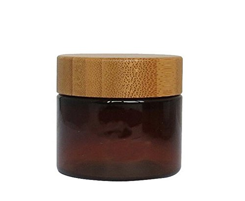 1PCS 50G Empty Refillable Brown Amber PET Plastic Lotion Cream Bottle Pot Jar Cosmetic Container with Liner and Natural Wooden Lid