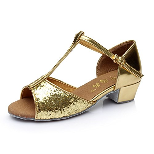 Shoes Ankle BYLE Leather Strap Gold Flat Sequined Onecolor with Modern Jazz Sandals Dance Latin Samba Dance Shoes Eqfqnx8rd