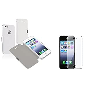 Quaroth Everydaysource Compatible with Apple iPhone 5 / 5S White Luxury Magnetic Flap Leather Case Case + Clear Reusable...