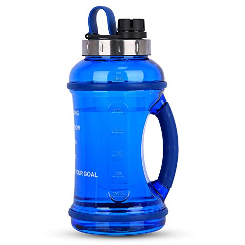 GEEKERBUY Half Gallon Water Bottle Sports Water Jugs Robust 74oz Motivational Reusable Water Bottles BPA Free Plastic Drinking Container for Sport Camping Hydro Daily Intake
