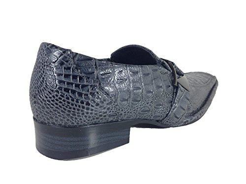 Men's Runs on Enzo with Loafers Slip Santcro Dress Elastic Crocodile Fashion Size Buckle Half Gray Big Print Romeo Shoes wHF6xHqER