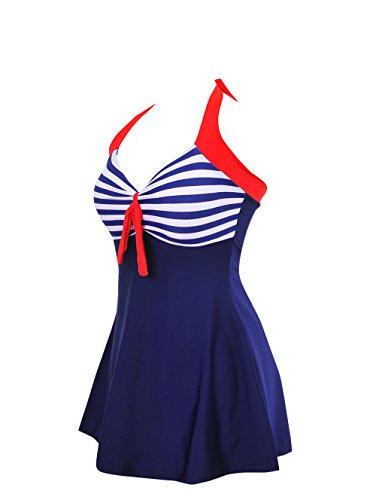 iBaste Swimwear,Falda Pantalones Diseñados Trajes de Baño One Piece con Push Up Azul Claro