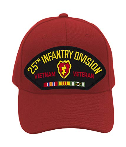 Patchtown 25th Infantry Division - Vietnam Veteran Hat/Ballcap (Black) Adjustable One Size Fits Most (Red, Standard (No Flag))