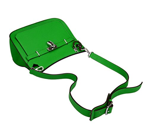 Genuine Bamboo Bag Women's Leather With Satchel Green Messenger Hardware Ainifeel Silver Padlock EaqvvF