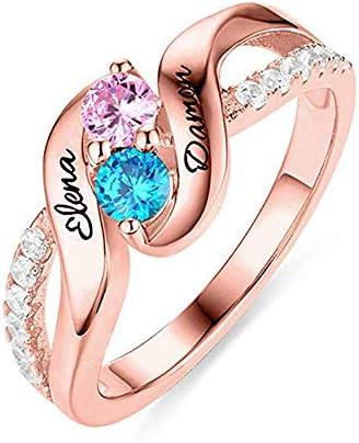 指輪 名入れ リング カスタマイズ プレゼント 誕生石 シルバ 925 三色選択可能 婚約 結婚式 アクセサリー (ローズゴールド, 9)