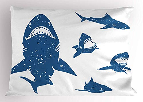 Sham, Digital Big Shark Figures with Distressed Effects Deep Ocean Natural Retro Design Print, Decorative Standard Queen Size Printed Pillowcase, 30 X 20 inches, Blue ()