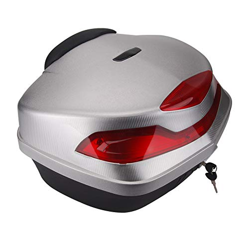 - Motorcycle Tour Tail Box Trunk Luggage Top Lock Storage Carrier Case 48L w/backrest & Handle (Silver)