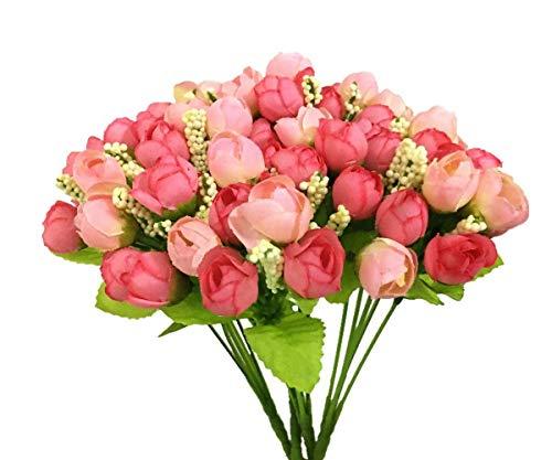 CATTREE Artificial Rose Flowers, Plastic Silk Finger Rose Fake Plants Wedding Bridal Bouquet Party Indoor Outdoor DIY Home Garden Verandah Office Table Centerpieces Arrangements Decoration 4pcs ()
