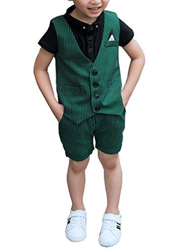 Boys Summer Pinstripe Suits Vest Set 2 Pieces Vest and Pants/Shorts Set 3 Colors (5, Green)