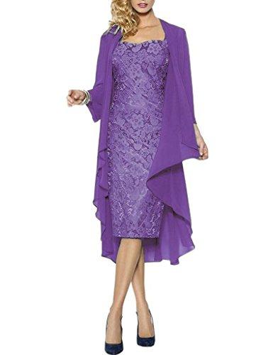 der Kurze Spitze Lila Jacke Braut mit HWAN Wraps Chiffon formale Kleider Mutter Kleider BZEwZaq