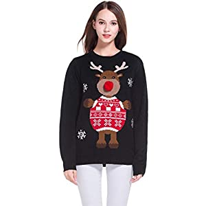 *daisysboutique***** Women's Christmas Cute Reindeer Knitted Sweater Girl Pullover