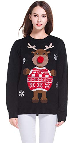 *daisysboutique* Women's Christmas Cute Reindeer Knitted Sweater Girl Pullover (X Small, 3D Nose)