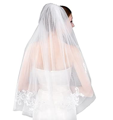 Cibelle Women's Short 2 Tiers Lace Wedding Bridal Veil With Metal Comb White Ivory