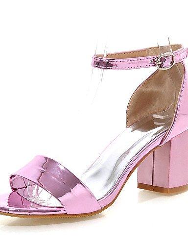 LFNLYX Zapatos de mujer-Tacón Robusto-Punta Abierta-Sandalias-Vestido-Semicuero-Rosa / Rojo / Plata / Oro Silver