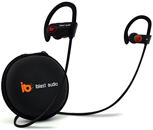 iblast audio Bluetooth Earbuds Wireless Running Headphones IPX7 Water SweatProof Comfortable Secure Fit 9hr Battery Sport w/Mic V1.1