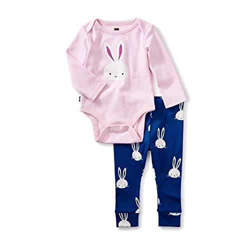 (Tea Collection 2-Piece Bodysuit Baby Outfit, Pink Crepe, Bunny Design with Pink Top and Blue Pants (0-3 Months))
