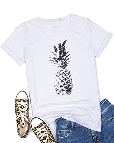 fuinloth Women's Graphic Tees, Short Sleeve Crewneck Cute T-Shirts, Printed Cotton Summer Tops Pineapple White 2X-Large