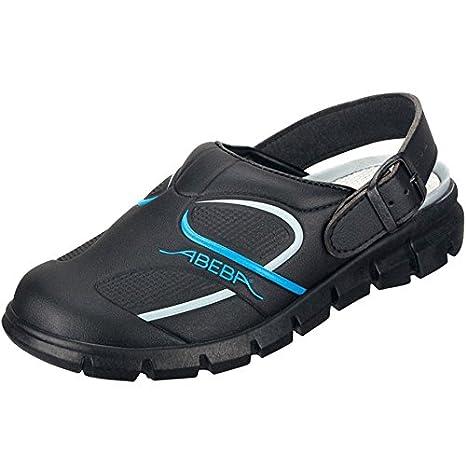 Zapato Profesional OB, A,E,FO SRC, con Microfibra A Color Negro con Correa Ajustable - Adecuado para Cocina - Conforme a HACCP - Negro/Azul, 37 Abeba 7331-37