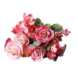 simoce 6 Heads Australian Rose Hydrangea Bouquet Silk Bouquet Home Party Wedding Décor Artificial Flower Props Fake Flowers (Red-Orangepink) 1