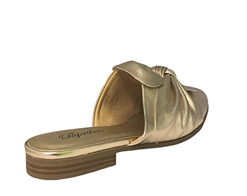 Paprika Damen Goldton Horsebit Hardware Rückenfrei Slip On Loafer Gold Lt.