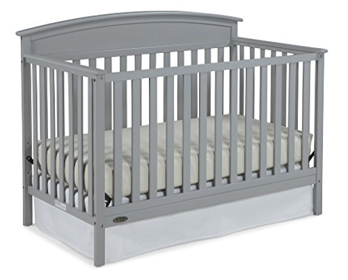 Graco Benton 4-in-1 Convertible Crib (Pebble Gray) - Easily Converts to Toddler Bed, Daybed or Full-Size Bed with Headboard, 3-Position Adjustable Mattress Support Base ()