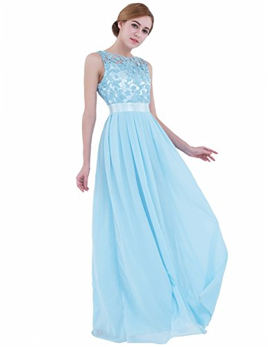 (iEFiEL Summer Wedding Floral Lace Crochet Bridesmaid Chiffon Dress Evening Gown Sky Blue 10)
