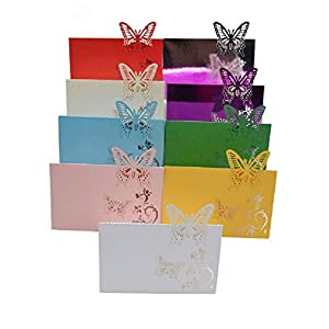 10Pcs 9X12Cm Butterfly Folding Type Laser Cut Heart Shape Table Name Card Place Card Wedding Party Decoration Favor 1