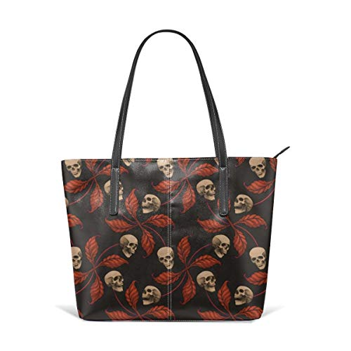 (Women's Soft Leather Tote Shoulder Bag VINTAGE HALLOWEEN CHERRY SKULL Small Scale Collection Cherry Skull Rock 'n' Roll Old School Tattoo Print Fashion Handbags Satchel Purse)