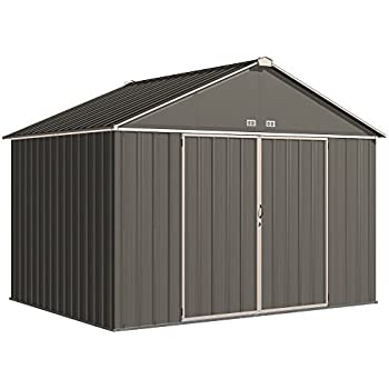"""Arrow EZ10872HVCCCR EZEE Shed Extra High Gable 72"""" Walls, 10 x 8', Charcoal with Cream Trim Finish"""