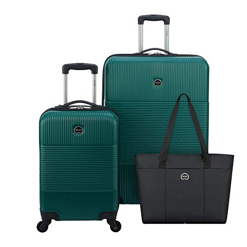 DELSEY Paris Groove DLX 3-Piece Hardside Set (Carry-on, Checked Suitcase and Weekender Bag), Dark Green