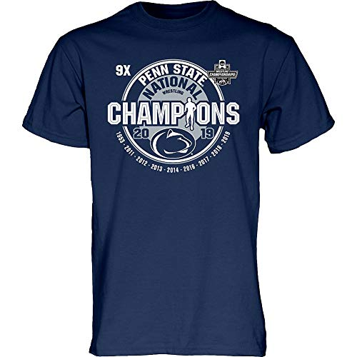 Elite Fan Shop Penn State Nittany Lions National Wrestling Champs Tshirt 2019 Navy 9X - XL