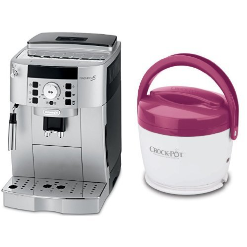 DeLonghi ECAM22110SB Compact Automatic Cappuccino, Latte and Espresso Machine and Crock-Pot SCCPLC200-PK 20-Ounce Lunch Crock Food Warmer, Pink Bundle